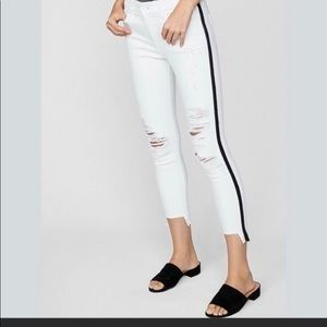 Express white jeans with black side stripe